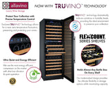 "Allavino 47"" Wide FlexCount II Tru-Vino 344 Bottle Four Zone Black Side-by-Side Wine Refrigerator Model: 2X-VSWR172-2B20"