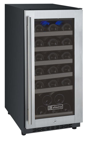 Allavino 30 Bottle FlexCount Series Single Zone Wine Refrigerator  VSWR30-1SSRN - BarStoreUSA