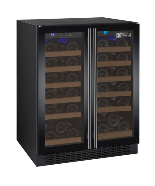 "Allavino 24"" Wide FlexCount II Tru-Vino 36 Bottle Dual Zone Black Wine Refrigerator Model :VSWR36-2BF20"