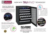 "Allavino 47"" Wide FlexCount II Tru-Vino 112 Bottle Dual-Zone Stainless Steel Side-by-Side Wine Refrigerator Model: 2X-VSWR56-1S20"