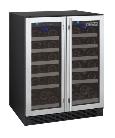 "Allavino 24"" Wide FlexCount II Tru-Vino 36 Bottle Dual Zone Stainless Steel Wine Refrigerator Model: VSWR36-2SF20"
