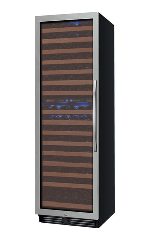 "Allavino 24"" Wide FlexCount Series 172 Bottle Dual Zone Stainless Steel Left Hinge Wine Refrigerator  YHWR172-2SWLN - BarStoreUSA"