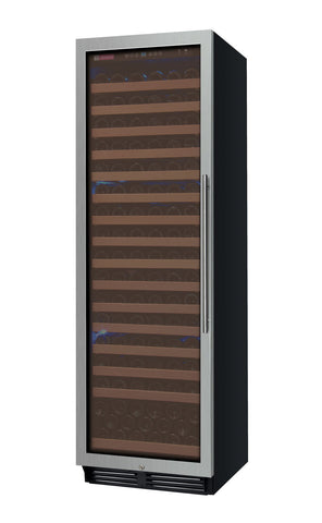"Allavino 24"" Wide FlexCount Classic II Tru-Vino 174 Bottle Single Zone Stainless Steel Left Hinge Wine Refrigerator Model: YHWR174-1SL20"