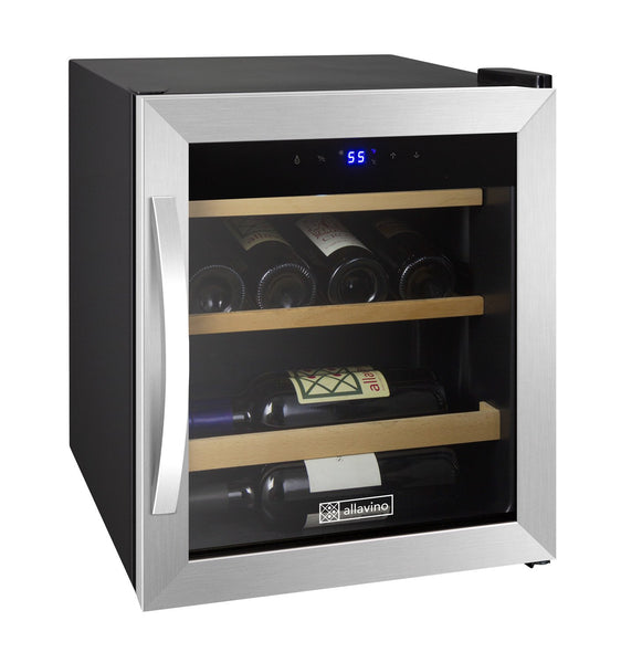 "Allavino 17"" Wide Cascina Series 12 Bottle Single Zone Stainless Steel Wine Refrigerator CDWR15-1SWT - BarStoreUSA"