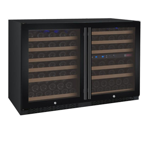 "Allavino 47"" Wide FlexCount Series 112 Bottle Three Zone Black Side-by-Side Wine Refrigerator BF 3Z-VSWR5656-BWT - BarStoreUSA"