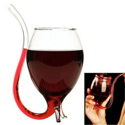 Wine Glass with Built in Drinking Straw - BarStoreUSA