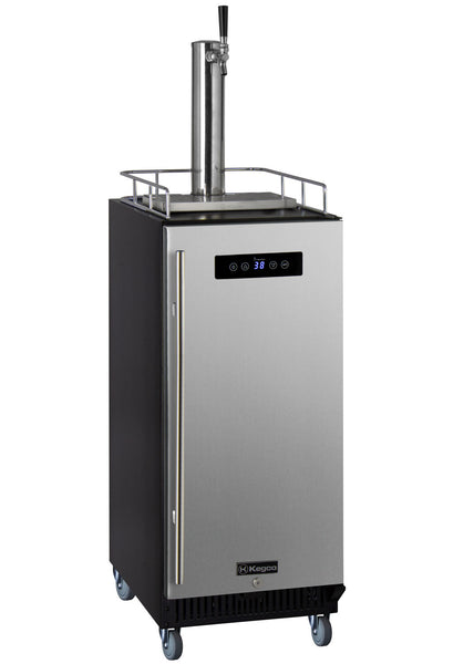 "Kegco 15"" Wide Kombucha Single Tap Stainless Steel Commercial Kegerator Model: KOM15BSRNK"