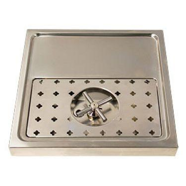 "Stainless Steel Rinser Drain Drip Tray - 15 3/4"" Wide for 1-2 Faucets Model:DP-1604 - BarStoreUSA"