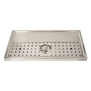 "Stainless Steel Rinser Drain Drip Tray - 31-1/2"" Wide for 3-5 Faucets - BarStoreUSA"