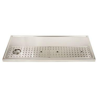 "Stainless Steel Rinser Drain Drip Tray - 51"" Wide for 8-12 Faucets - BarStoreUSA"