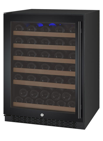 "Allavino 24"" Wide FlexCount II Tru-Vino 56 Bottle Single Zone Black Left Hinge Wine Refrigerator Model: VSWR56-1BL20"