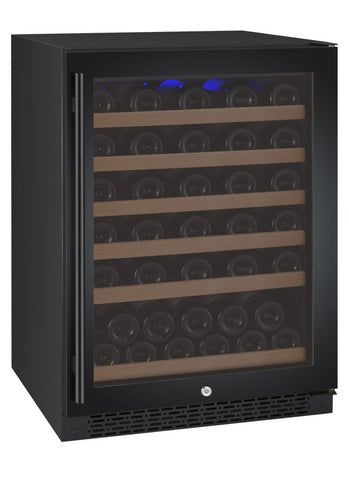 "Allavino 24"" Wide FlexCount II Tru-Vino 56 Bottle Single Zone Black Right Hinge Wine Refrigerator Model: VSWR56-1BR20"