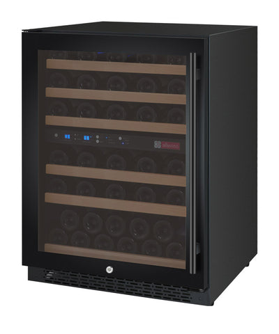 "Allavino 24"" Wide FlexCount II Tru-Vino 56 Bottle Dual Zone Black Right Hinge Wine Refrigerator Model: VSWR56-2BR20"