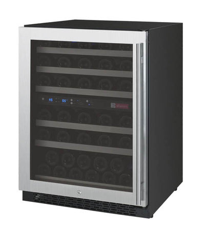"Allavino 24"" Wide FlexCount II Tru-Vino 56 Bottle Dual Zone Stainless Steel Left Hinge Wine Refrigerator Model: VSWR56-2SL20"