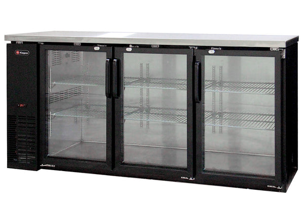 Kegco Commercial Back Bar Cooler with Three Glass Doors Model: XCB-2472BG