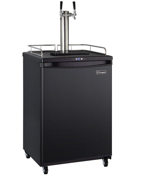 "Kegco 24"" Wide Homebrew Dual Tap Black Commercial/Residential Kegerator Model: HBK163B-2NK"