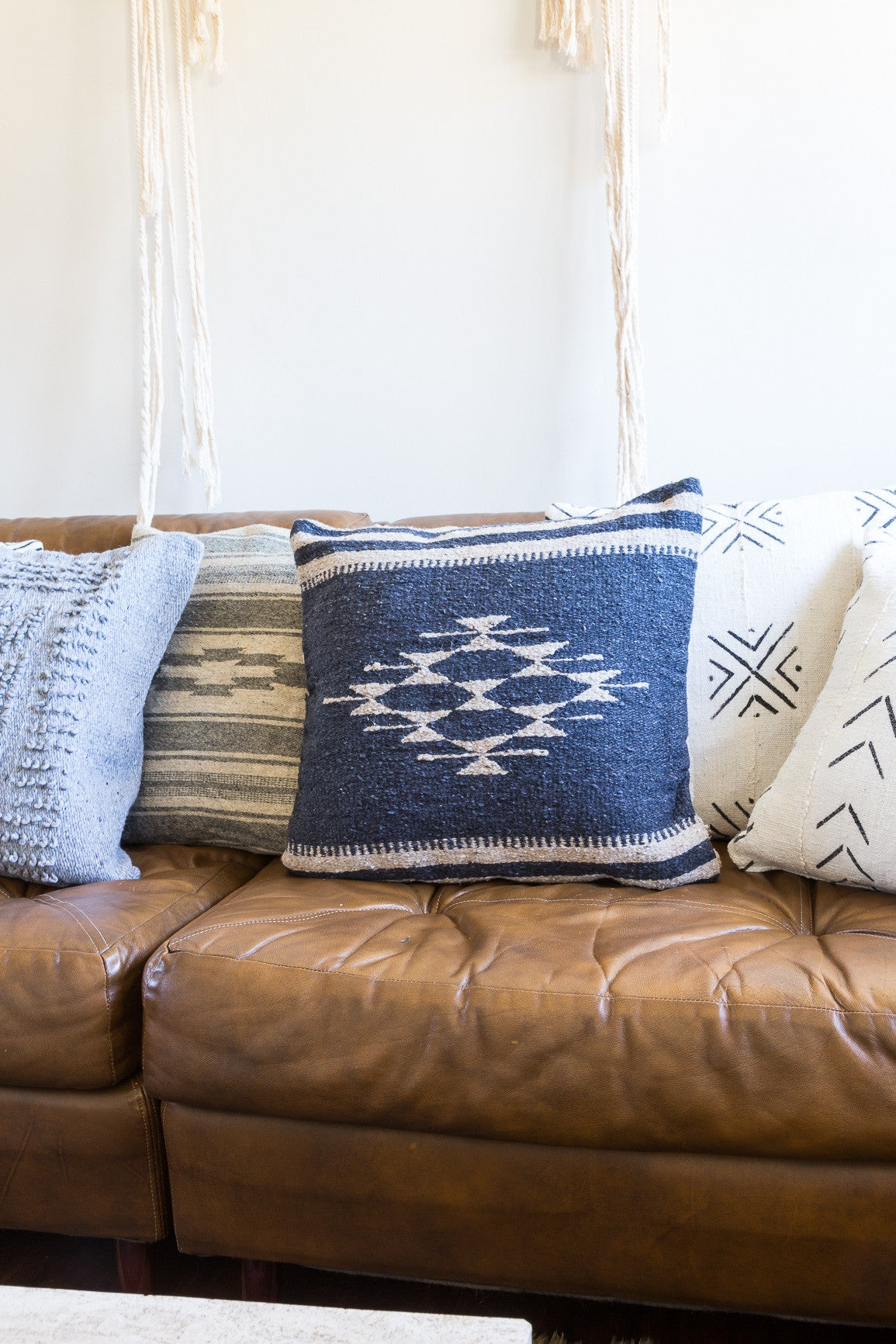 Handmade Mexican Grey Stripe Pillow Cover