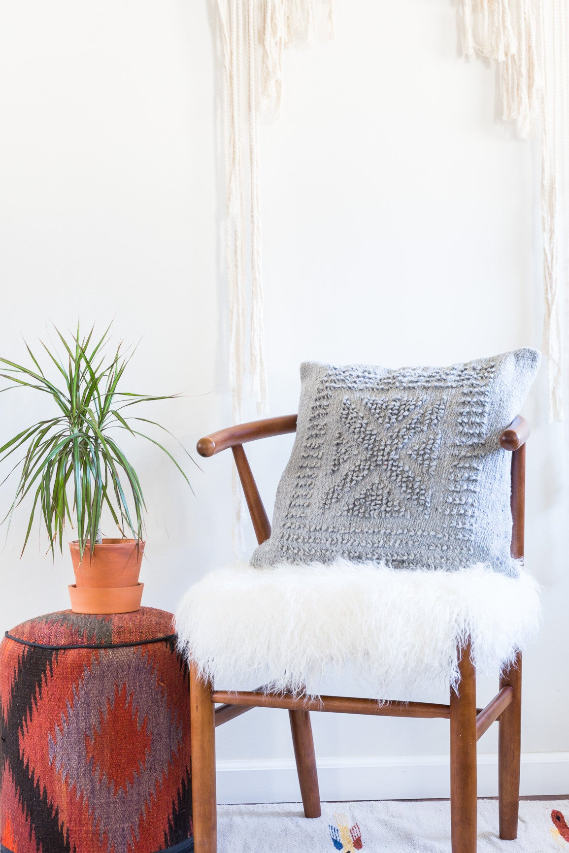 Handmade Mexican Grey Loop Pillow Cover