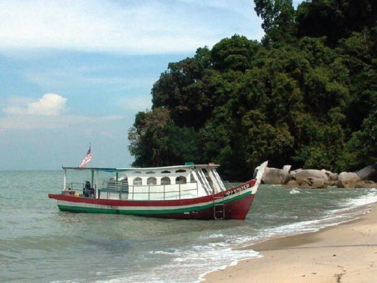 A boat stopping near the shore of Monkey Beach
