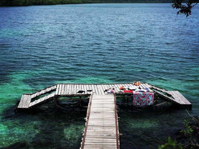 A dock by the jellyfish lake in Derawan Islands