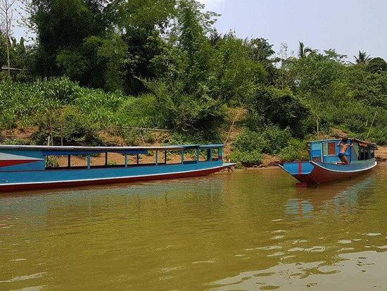 Boats by the Nam Ou River