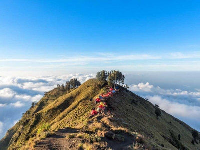 Camps set up at Mount Rinjani