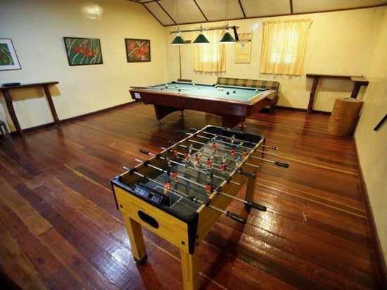 Entertainment room in a rainforest lodge at Kinabatangan