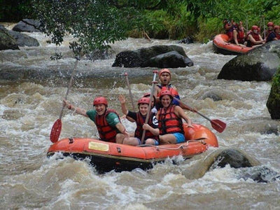 Exciting white water rafting on Ayung River in Bali