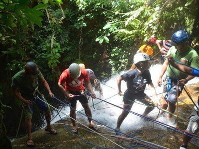 Group waterfall abseiling at Kampar