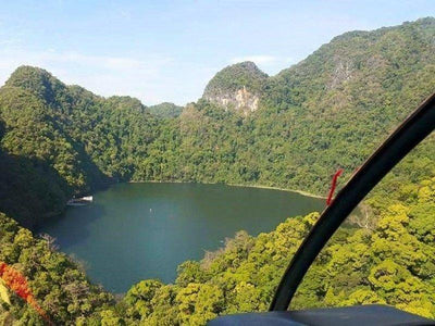 Helicopter viewing a lake in Langkawi Island
