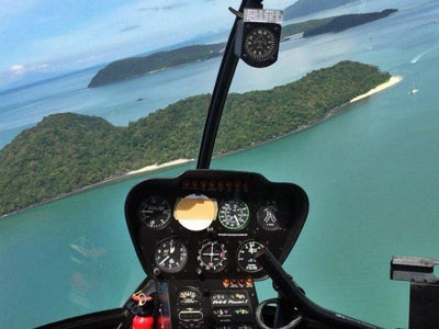 Inside the helicopter for Langkawi tour