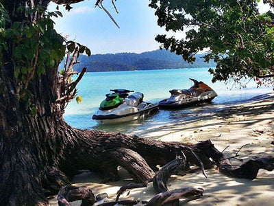 Jetski in a shade under a tree at Langkawi Island