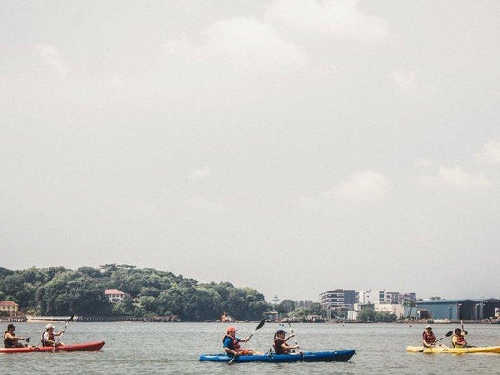 Kayaking in the water of Pulau Ketam