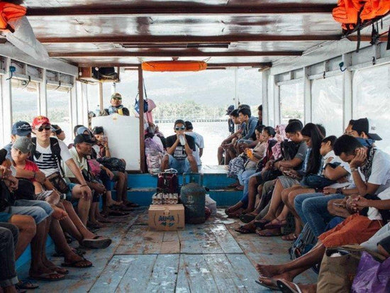 Passengers in the boat at Lombok