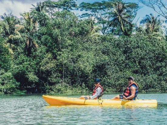Tourists kayaking on Ketam Island