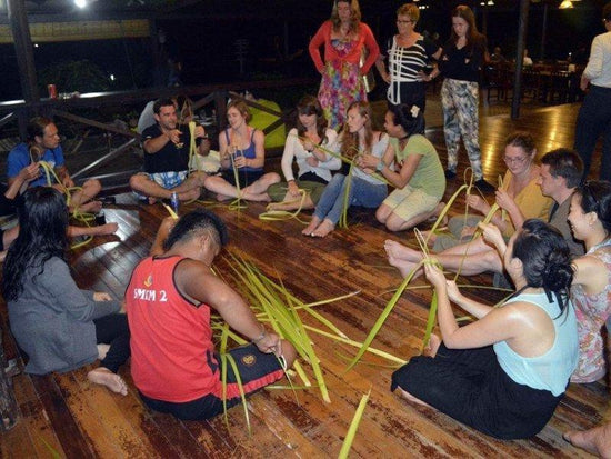 Tourists learn handcrafts at Pulau Tiga