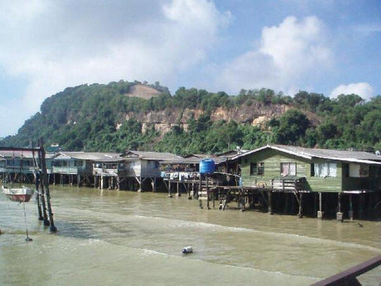 Water village on the sea at Sandakan