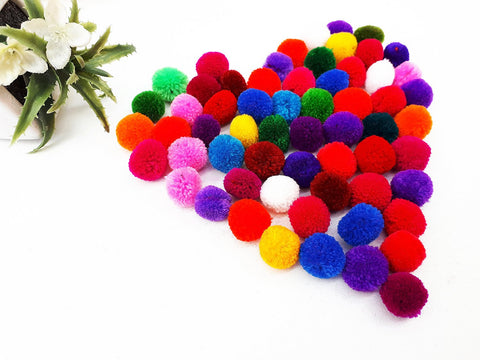 Handmade Pom Poms Hmong Hill Tribe Pom Pom Multi Color Pompom Yarn craft supplies decorations mix color 50 pcs - PY01-1.5