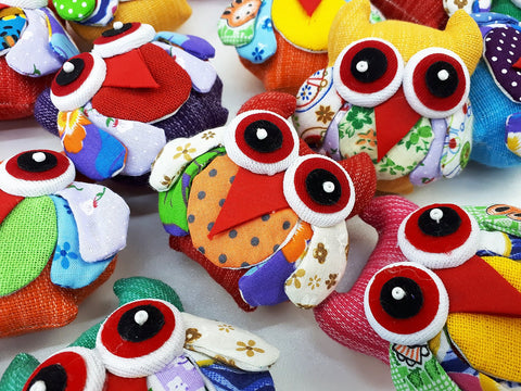 Handmade Animal Doll Owls Craft Supplies Key Chains Cute Home decor Pretty Animal Stuff Sewing Gifts Souvenir Mixed Color (4 Pcs) - AO01