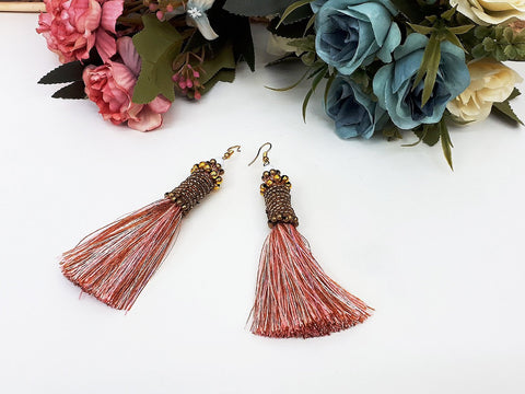 Pink Tassels Earrings Drop Earrings Bohemian Pendentes Earrings Hmong Tassel For Women Earrings Gift For Her Hill Tribe - EHT0003-2