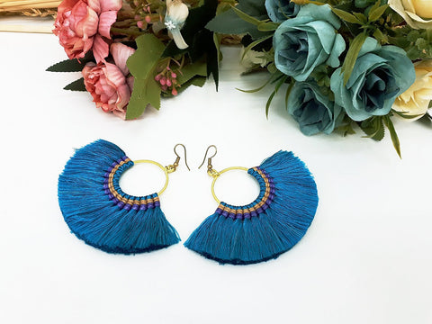 Turquoise Blue Fan Tassels Earrings Drop Earrings Bohemian Pendentes Earrings Hmong Tassel For Women Earrings Gift Hill Tribe -EHT0001TB