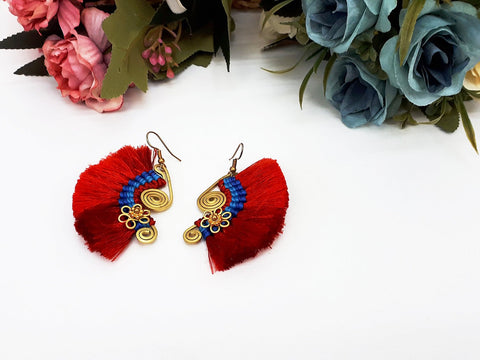 Red Fan Tassels Earrings Drop Earrings Bohemian Pendentes Earrings Hmong Tassel For Women Earrings Gift For Her Hill Tribe - EHT0002R