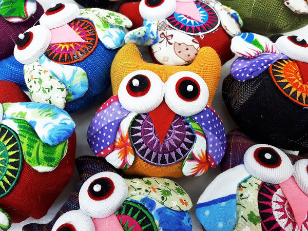 Handmade Animal Doll Owls Craft Supplies Key Chains Cute Home decor Pretty Animal Stuff Sewing Gifts Souvenir Mixed Color (4 Pcs) - AO02