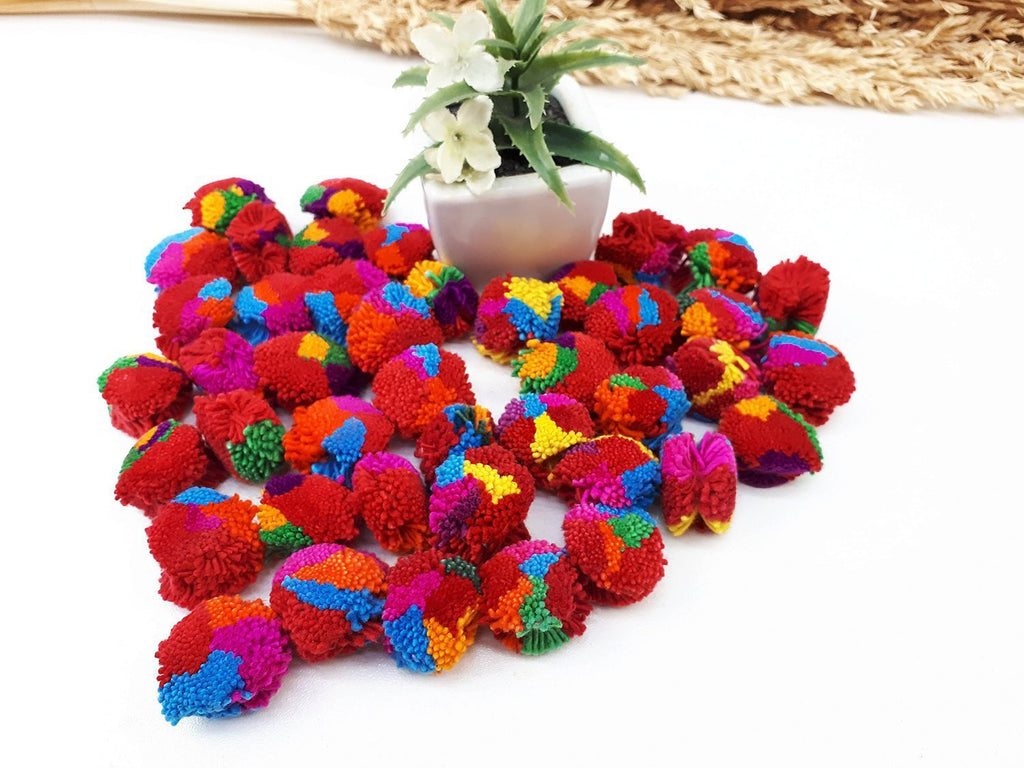 Handmade Pom Poms Hmong Hill Tribe Pom Pom Multi Color Pompom Cotton Yarn craft supplies decorations mix color 50 pcs - PC02-2.5