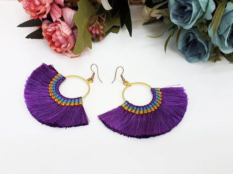 Purple Fan Tassels Earrings Drop Earrings Bohemian Pendentes Earrings Hmong Tassel For Women Earrings Gift For Her Hill Tribe -EHT0001P
