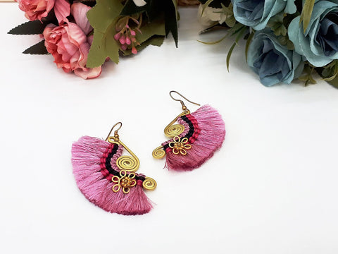 Pink Fan Tassels Earrings Drop Earrings Bohemian Pendentes Earrings Hmong Tassel For Women Earrings Gift For Her Hill Tribe - EHT0002P