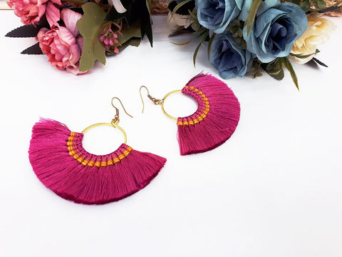 Hot Pink Fan Tassels Earrings Drop Earrings Bohemian Pendentes Earrings Hmong Tassel For Women Earrings Gift For Her Hill Tribe - EHT0001HP