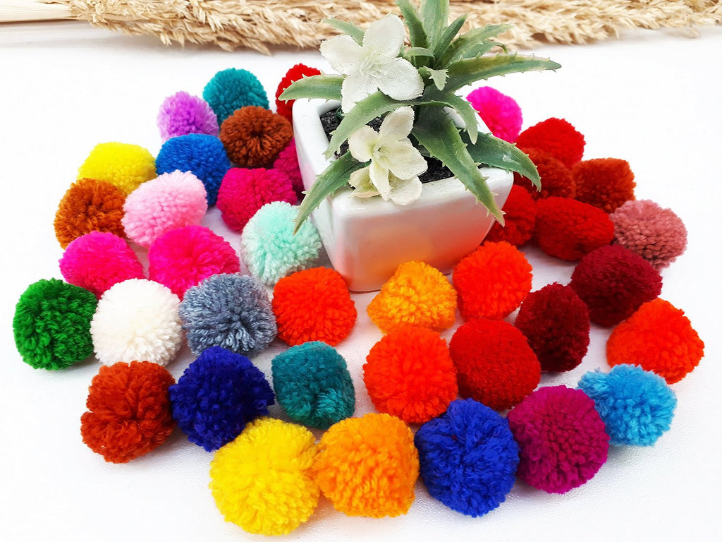 Handmade Pom Poms Hmong Hill Tribe Pom Pom Multi Color Pompom Yarn craft supplies decorations mix color 50 pcs - PY01-2.5