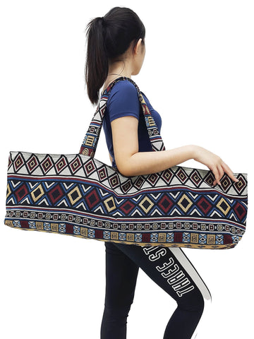 Handmade Yoga Mat Bag Sports Bags Woven Cotton Yoga Bag Tote Yoga Sling bag Pilates Bag Pilates Mat Bag Canvas Bag Women yoga bag (YB190)