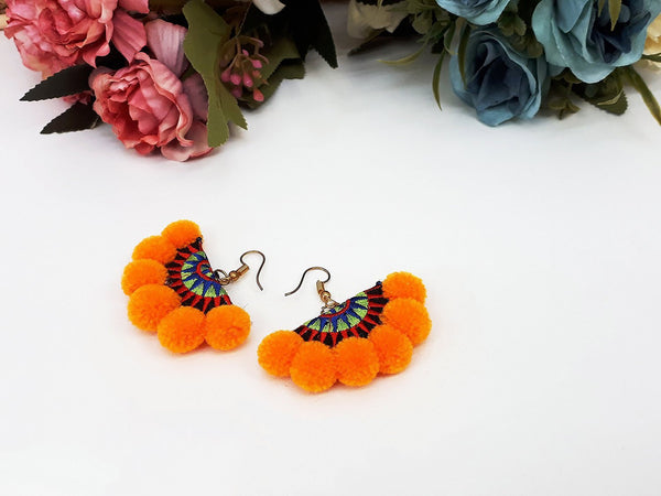 Orange Fan Pom Pom Earrings Drop Earrings Bohemian Pendentes Earrings Hmong Tassel For Women Earrings Gift For Her Hill Tribe - EHP0001-2